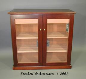 Aristocrat M  Dark Red Mahogany Inlay Top U0026 Glass Door Note Solid Spanish  Cedar Shelves,drawers